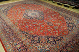 10x14 Authentic Hand Knotted Fine Quality Persian Kashan Rug - Iran