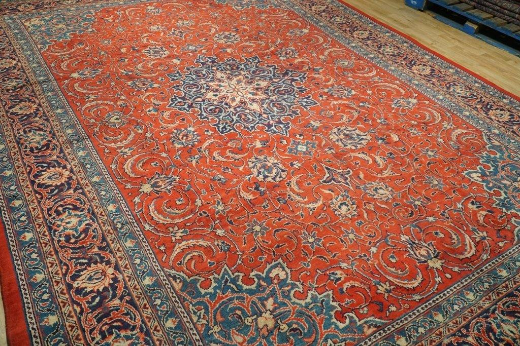 9x12 Authentic Hand Knotted Semi-Antique Persian Sarouk Rug - Iran
