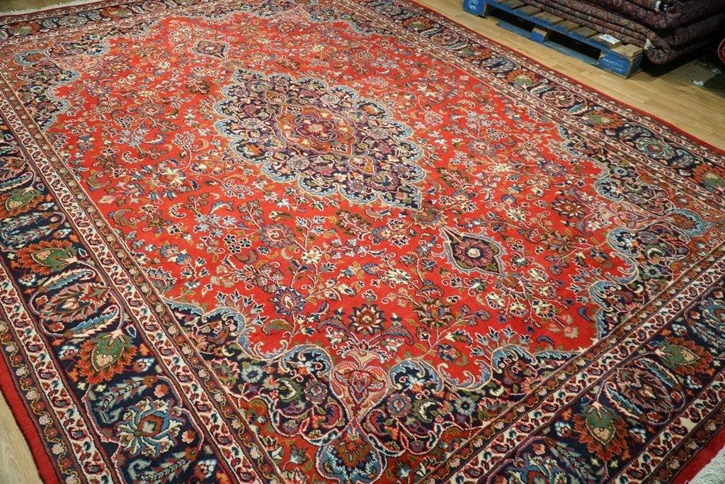 10x13 Authentic Hand Knotted Fine Quality Persian Mashad Rug - Iran