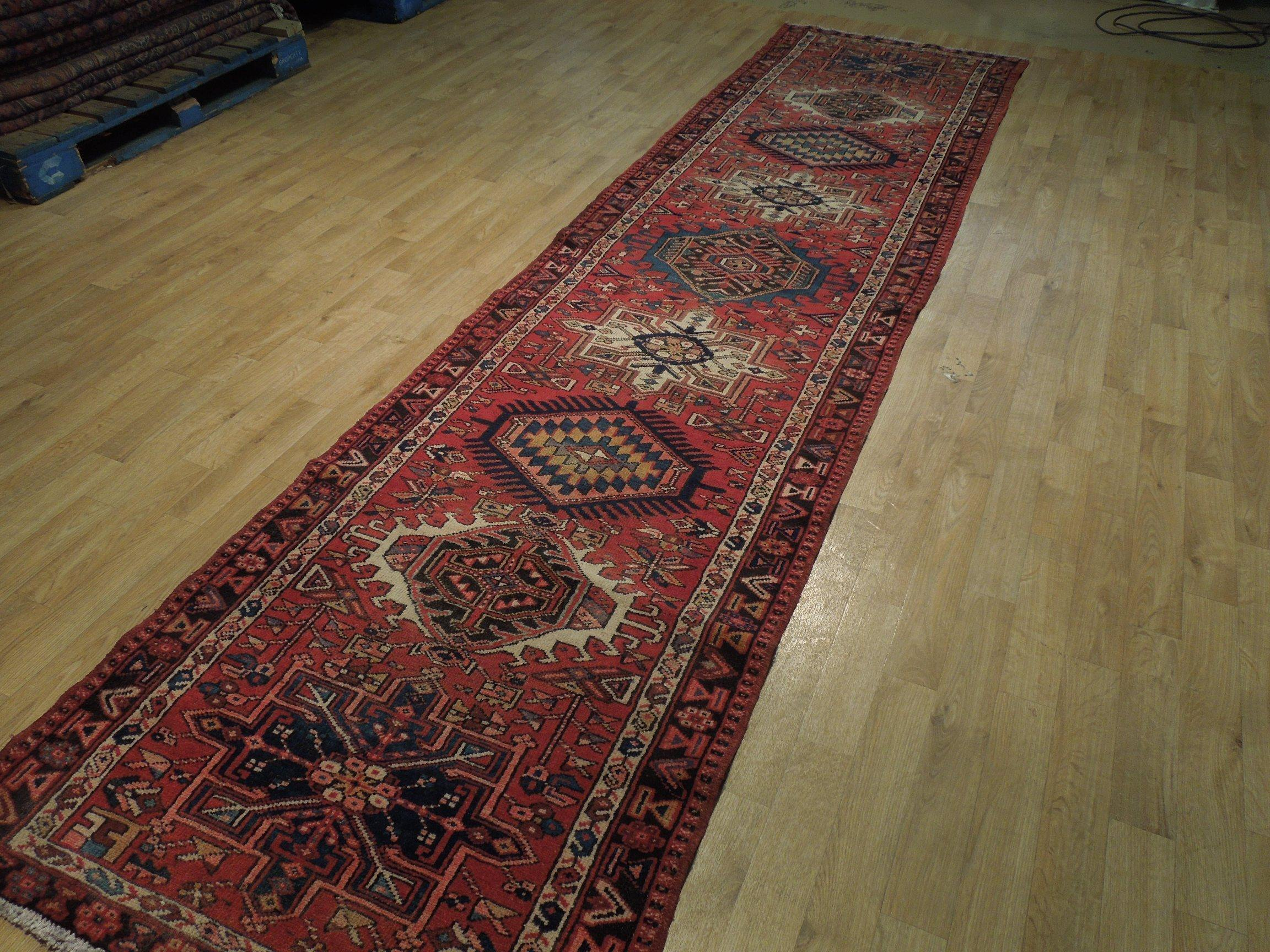 3x13 Authentic Hand-Knotted Semi-Antique Persian Karaja Runner - Iran