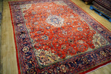 9x13 Authentic Hand Knotted Semi-Antique Persian Sarouk Rug - Iran