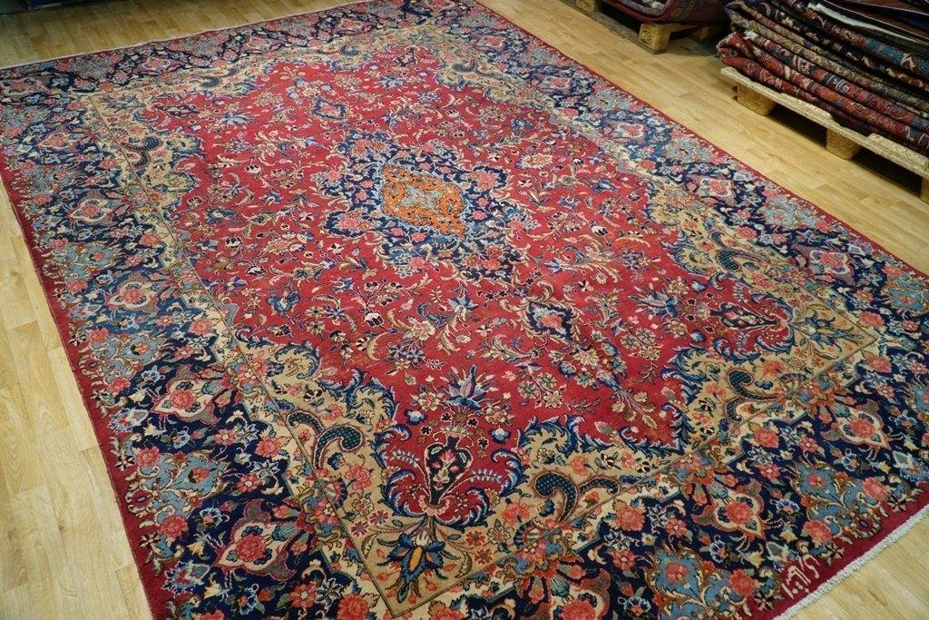 8x12 Authentic Hand Knotted Worn Antique Signed Persian Kerman Rug - Iran - bestrugplace