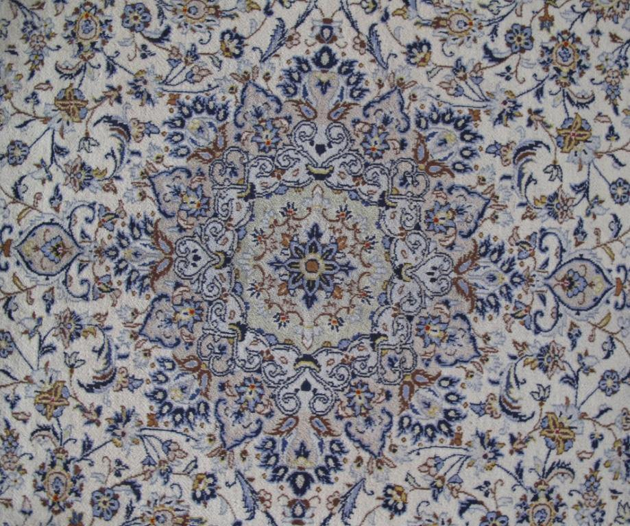 10x13 IVORY BLUE  Authentic Hand-knotted Persian Kashan Rug - Iran 81232