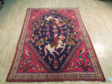 Harooni Rugs - Stunning 6x9 Authentic Hand Knotted Semi-Antique Persian Hunting Rug - Iran