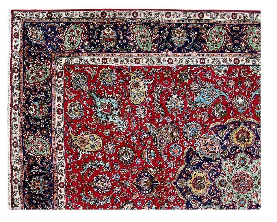 10x13 Authentic Hand Knotted Persian Tabriz BOTE PAISELY Rug - Iran