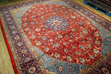 10x13 Authentic Hand Knotted Oval Pattern Persian Sarouk Rug - Iran
