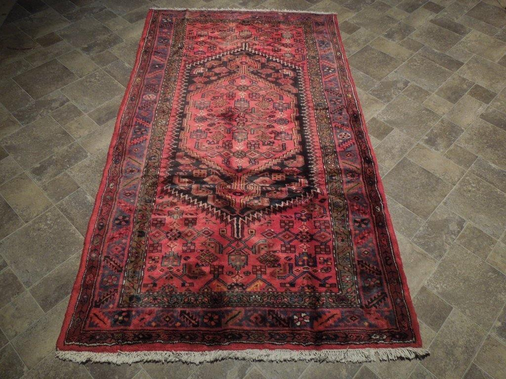 4x8 Authentic Hand Knotted Semi-Antique Persian Herati Rug - Iran - bestrugplace