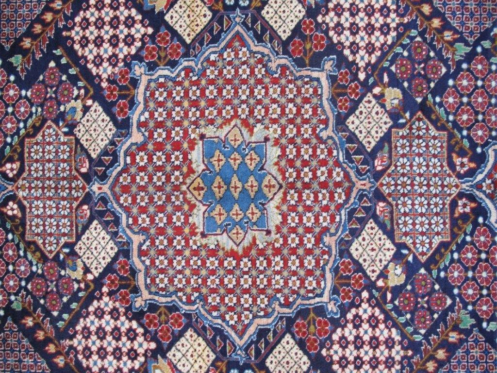 NAVY BLUE GEORMETRIC Authentic Hand-knotted Persian Signed Isfahan Rug - Iran 82342