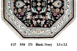 Harooni Rugs - Dazzling 3x3 Authentic Handmade Hunting Rug - India
