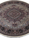 Harooni Rugs - Dazzling 6x6 Authentic Hand Knotted Jammu Kashmir Silk Rug - India