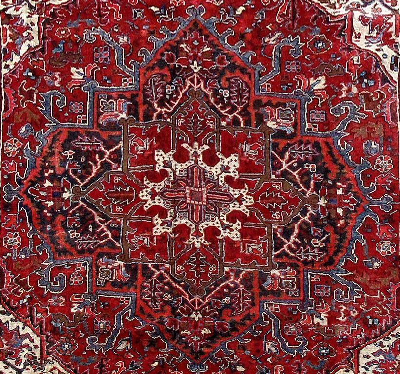 9x12 Authentic Hand Knotted Persian Heriz Rug - Iran