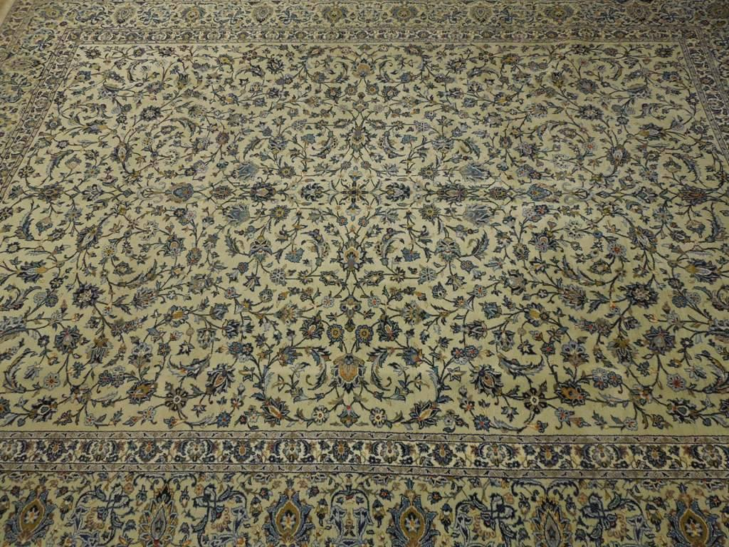 10x13 Authentic Hand Knotted Persian Ivory Green Kashan Rug - Iran