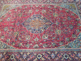 7x10 Authentic Hand Knotted Semi-Antique Persian Sarouk Rug - Iran