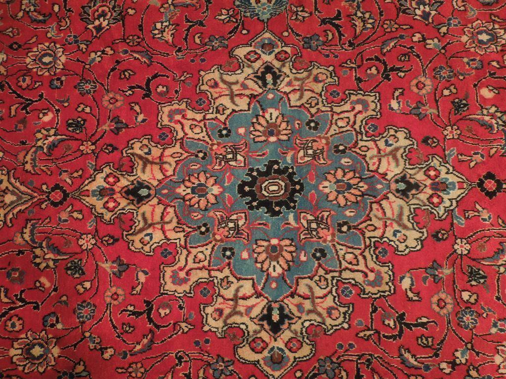 9x13 Authentic Hand Knotted Repaired Semi-Antique Persian Sarouk Rug - Iran