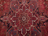 9x11 Authentic Hand Knotted Semi-Antique Persian Heriz Rug - Iran