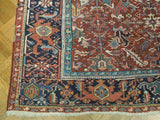 8x9 Authentic Hand Knotted Semi-Antique Persian Heriz Rug - Iran