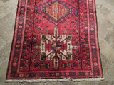 4x10 Authentic Hand Knotted Semi-Antique Persian Karaja Runner - Iran
