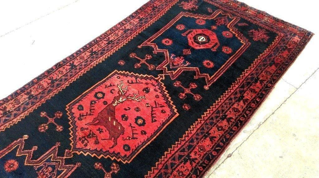4x10 Authentic Hand Knotted Persian Hamadan Rug - Iran