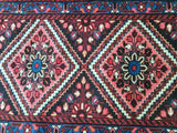2x13 Authentic Hand Knotted Persian Karaja Rug - Iran