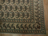 9x12 Authentic Hand Knotted Semi-Antique Persian Qum Paisley Rug - Iran