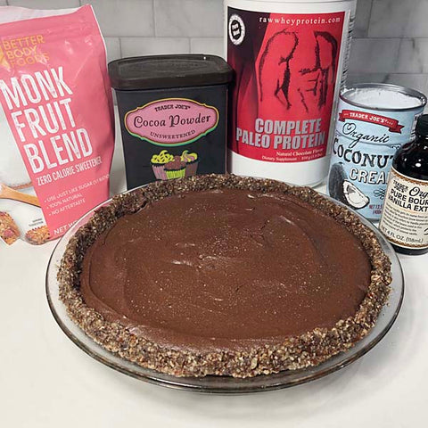 Decadent chocolate cream pie made with Complete Paleo Protein!