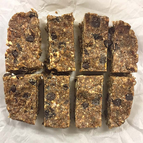 A batch of easy to make Homemade Chocolate Chia Cherry Protein bars made with Complete Raw Whey Protein!