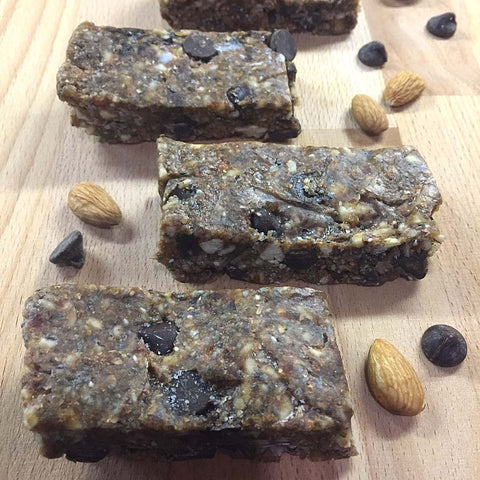 Chocolate Cherry Chia Protein Bars made with Complete Whey Protein, dark chocolate, raw almonds, dried cherries and chia seeds!