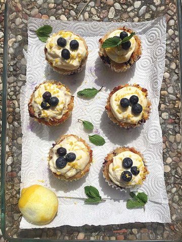 Lemon Blueberry Keto Cupcakes made with almond meal and Complete Whey Protein!