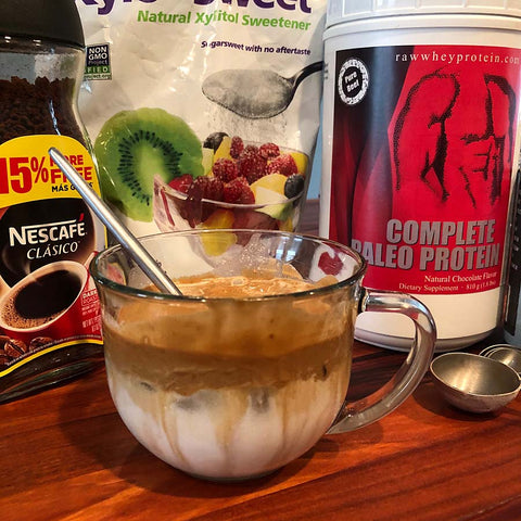 Dalgona Coffee made with Delicious Chocolate Complete Paleo Protein!