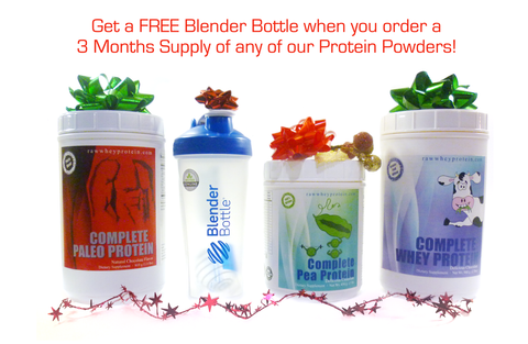 Get a free blender bottle when you buy any 3 jars of our Protein Powders!