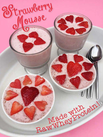 Strawberry Mousse made with Creamy Vanilla Raw Whey Protein, fresh organic strawberries and coconut cream!