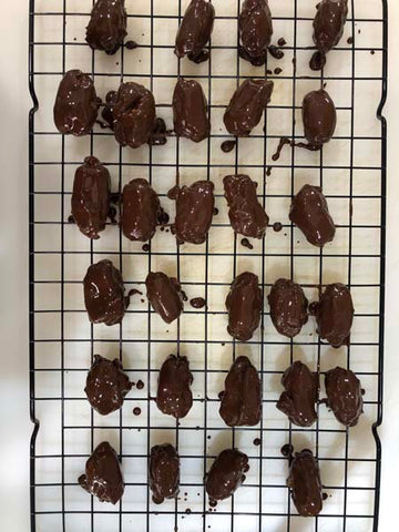 Chocolate covered dates filled with Complete Paleo Protein!