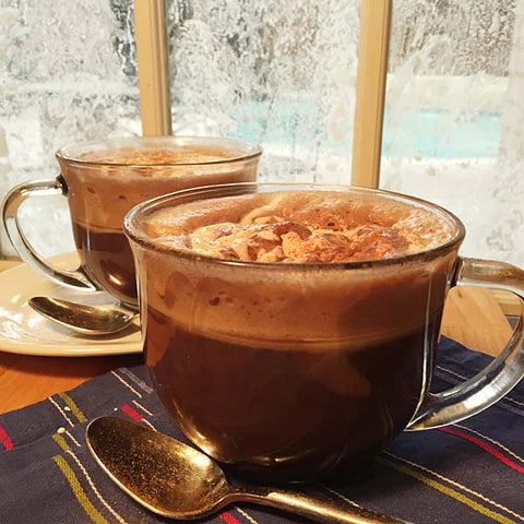 Keto Hot Chocolate made with Complete Paleo Protein in the delicious chocolate flavor!