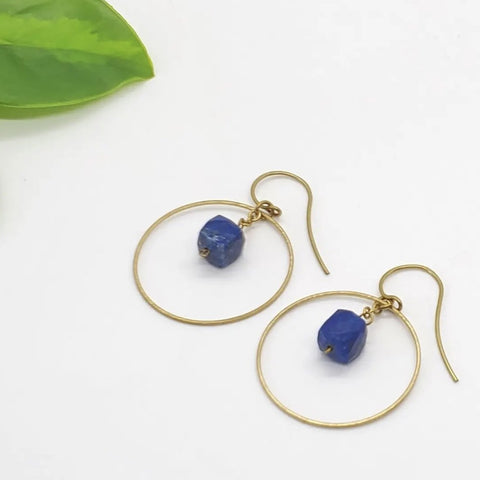 Brass Hoop Earrings - Lapis