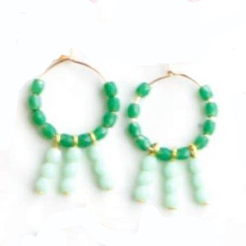 Colorful Hanging Hoop Earrings - Green