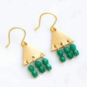 Colorful Geometric Earrings - Green