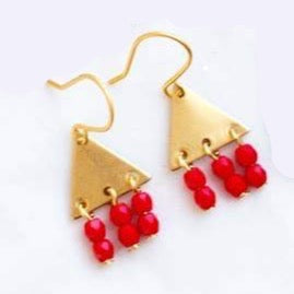 Colorful Geometric Earrings - Red