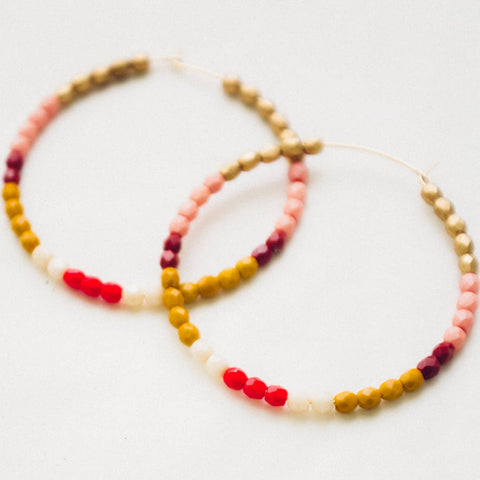 Hoop Earrings - Red / Mustard