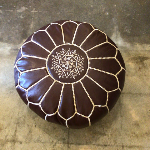 Moroccan Mocha Leather Pouf