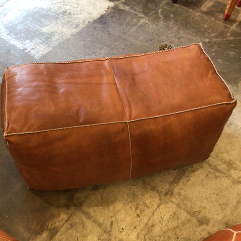 Rectangular Moroccan Leather Pouf
