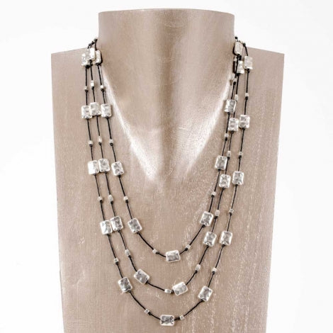 "Hammered Graduated Rectangles Necklace - 26"" Long"