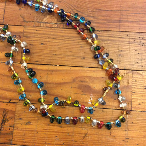 Multicolor Tear Drop Long Necklace