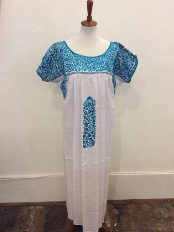 San Antonino Dress from Mexico - White/Turquoise