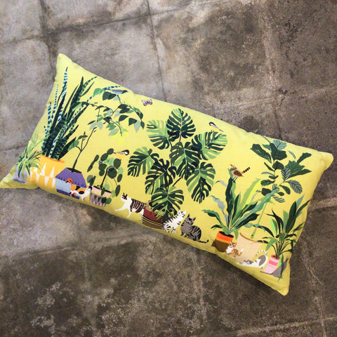 Patio Garden with Cats and Plants Chartreuse Printed Pillow