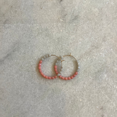 Beaded hoop earrings- blush