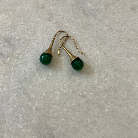 Green agate teardrop earrings