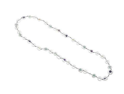 Geo Twine and Natural Stone Long Necklace - Silver