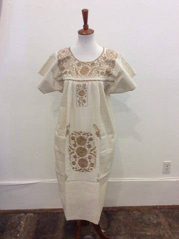Women's Mexican Neutral Puebla Dress - Small