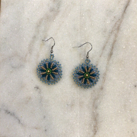 Denim Daisy Dangle Earrings - Teal/Gold