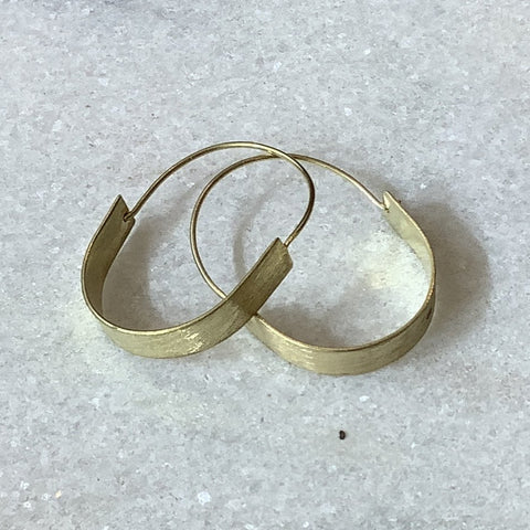 Brushed brass hoop earrings